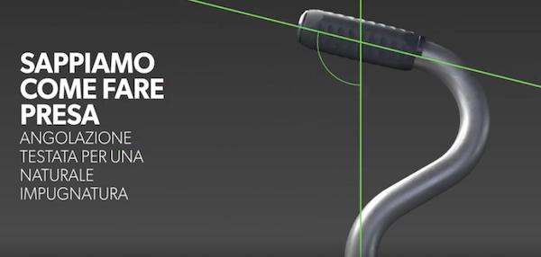 Cantello Torino - Particolare dell'impugnatura con la particolare inclinazione ergonomica dell'impugnatura